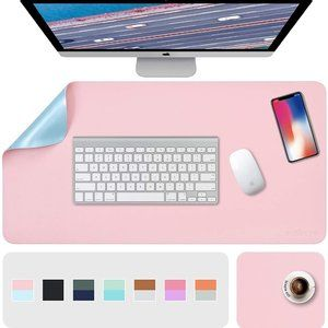 """31.5"""" x 15.7"""" + 8""""x11"""" Leather Desk Pad 2 Pack, Pink__Blue"""